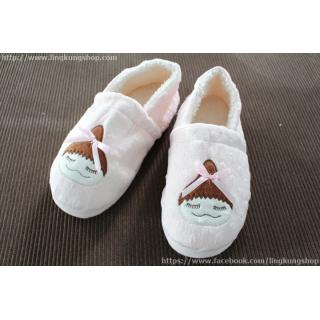 รองเท้าใส่ในบ้าน สาวน้อยเกาหลี หุ้มส้น