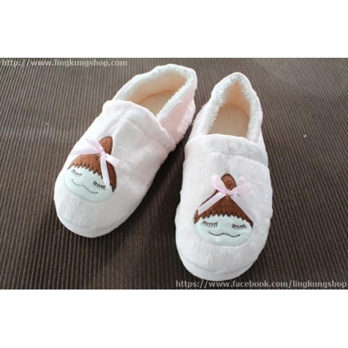 รองเท้าใส่ในบ้าน แบบหุ้มส้น สาวน้อยเกาหลีน่ารักผู้โบว์สีชมพู