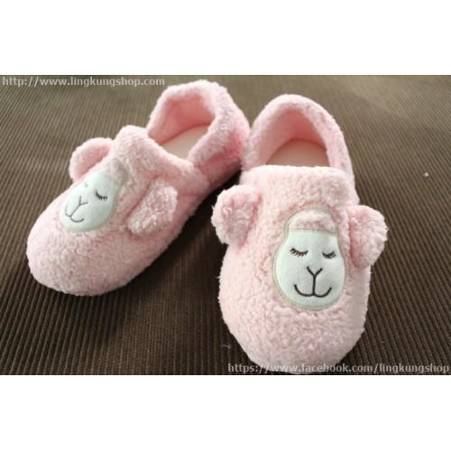 รองเท้าใส่ในบ้าน ลายน้องแกะ alpaca น่ารัก ขนนุ่มๆ แบบหุ้มส้น