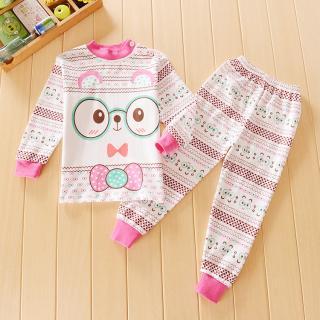 ชุดนอนเด็กน่ารัก หมีน้อยใส่แว่น แขนยาวขายาว สำหรับเด็ก 1-4ขวบ (ไซส์55-70)