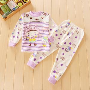 ชุดนอนเด็กน่ารัก แขนยาวขายาว สีม่วง ลายสาวน้อยหมวกหมี สำหรับเด็ก 1-4ขวบ (ไซส์55-70)