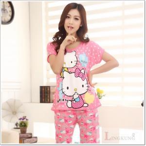 ชุดนอนแขนสั้น ลายการ์ตูนคิตตี้ (Hello Kitty) เนื้อผ้ายืด