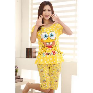 ชุดนอนแขนสั้น (SpongeBob) เนื้อผ้ายืด คุณภาพดี