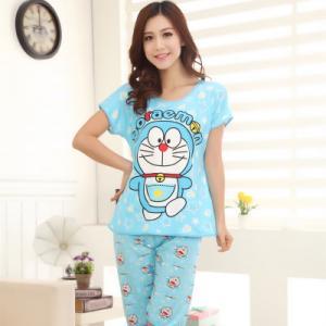 ชุดนอนแขนสั้น ลายการ์ตูนโดราเอมอน (Doraemon) เนื้อผ้านิ่ม