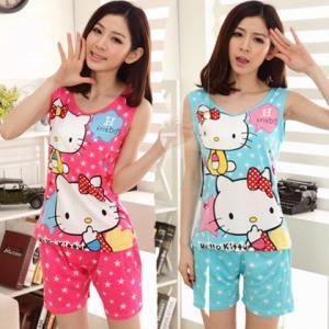 ชุดนอนน่ารักเสื้อกล้าม ลายการ์ตูนคิตตี้ (Hello Kitty)