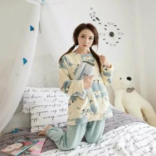 ชุดนอนน่ารัก ผู้หญิงสไตล์เกาหลี แขนยาวขายาว ขนปุยนุ่ม
