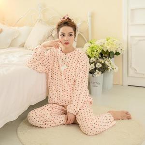 ชุดนอนหน้าหนาว โอโรสลายจุด สไตล์สาวเกาหลี แขนยาวขายาว ขนปุยนุ่ม