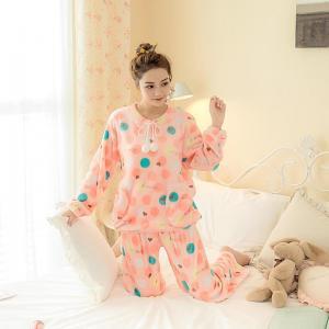 ชุดนอนหน้าหนาว โอโรสหวานๆ น่ารักสไตล์สาวเกาหลี แขนยาวขายาว ขนปุยนุ่ม