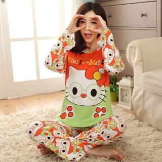 ชุดนอนแขนยาว ลายคิตตี้ทั้งตัว (Hello Kitty) ผ้ายืดนุ่มๆ