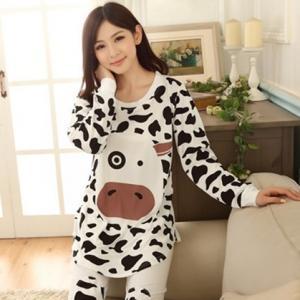 ชุดนอน่ารัก สไตล์เกาหลี ลายน้องวัว แขนยาวขายาว (M,L,XL)