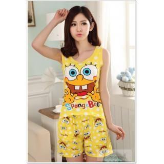 ชุดนอนเสื้อกล้าม ลายการ์ตูนเจ้าเนย SpongeBob