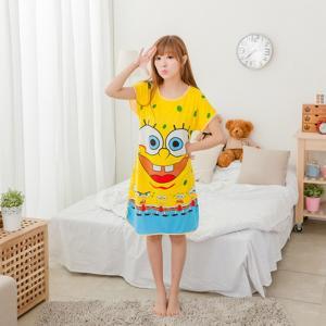 ชุดนอนกระโปรง ลายสพันจ์บ็อบ (Spongebob) ผ้านิ่มๆ ฟรีไซส์ใหญ่