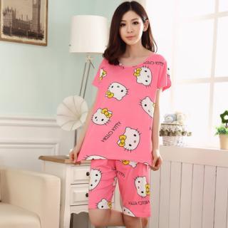 ชุดนอนแขนสั้น ลายคิตตี้ (Hello Kitty) สีชมพู ฟรีไซส์