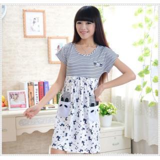 ชุดนอนเดรส แฟชั่นชุดนอนน่ารัก สไตล์เกาหลี สีน้ำเงิน