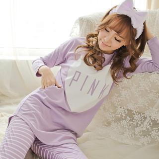ชุดนอนสไตล์เกาหลี แขนยาวขายาว PINK ม่วง