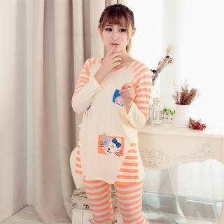 ชุดนอนสไตล์เกาหลี สีส้มลายทาง แมวเหมียว น่ารักสดใส