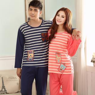 (เหลือชุดผุ้หญิง)ชุดนอนน่ารักลายขวาง แขนยาวขายาว ชุดนอนคู่รัก ผ้าฝ้าย(ราคาต่อชุด)