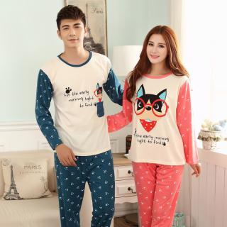 (เหลือชุดผู้หญิง)ชุดนอนน่ารัก ชุดนอนคู่รัก ลายหมาน้อยใส่แว่น แขนยาวขายาว ผ้าฝ้าย(ราคาต่อชุด)