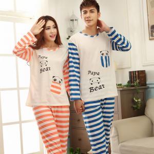 (เหลือชุดผู้หญิง)ชุดนอนน่ารัก ชุดนอนคู่รัก หมีแพนด้าลายขวาง แขนยาวขายาว ผ้าฝ้าย (ราคาต่อชุด)