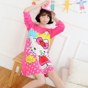 ชุดนอนกระโปรงแขนยาว ลายคิตตี้ สีชมพู