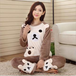 ชุดนอนน่ารักกันหนาว ลายน้องหมี เนื้อผ้าหนานุ่ม
