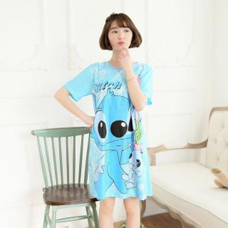 ชุดนอนกระโปรง ลายการ์ตูน Stitch สติช น่ารักสดใส ผ้าcottonผสมเนื้อผ้านิ่มๆ