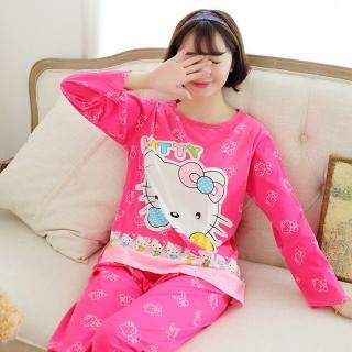 ชุดนอนคิตตี้ Kitty สีชมพูน่ารักสดใส สาวกต้องห้ามพลาด เนื้อนิ่มฟรีไซส์