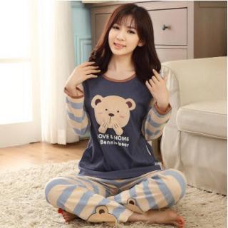 ชุดนอนผู้หญิงน่ารัก แขนยาวขายาว ลายน้องหมีกางเกงลายทาง ผ้าCotton (L)