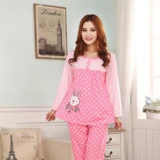 ชุดนอนแขนยาวน่ารัก สีชมพู ลายกระต่าย สไตล์วินเทจ ใส่สบาย(L XL)