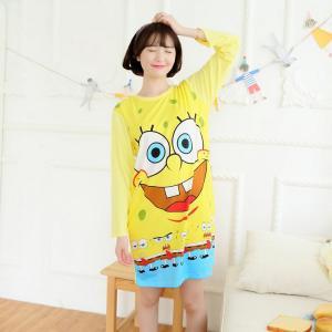 ชุดนอนการ์ตูน spongebob เดรสแขนยาว ฟรีไซส์
