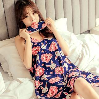 ชุดนอนน่ารัก สไตล์เกาหลี เดรสสายเดี่ยว ผ้านิ่มสบายตลอดคืน (M L XL)