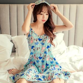 ชุดนอนน่ารัก ลายหมาทั้งชุดเลย สไตล์เกาหลี เดรสสายเดี่ยว เพิ่มความน่ารักในการนอนได้อีกเยอะ (M L XL)