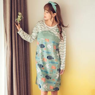 ชุดนอนเดรส ลายฝูงปลา สาวๆเกาหลี น่ารักแบบมีสไตล์