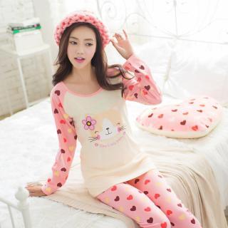 ชุดนอนน่ารักแขนยาว ขายาว แมวเหมียว สำหรับผู้หญิงน่ารัก ผ้ายืดเนื้อดี หลับสบาย