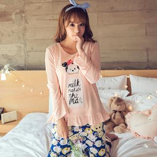 ชุดนอนแขนยาว สไตล์สาวเกาหลี พร้อมผ้าปิดตา มิกกี้แสนน่ารักสุดชิค