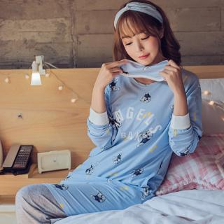 ชุดนอนแขนยาว เสื้อตัวยาว สไตล์สาวเกาหลี ลายน้องหมา พร้อมผ้าปิดตาปังๆมาก