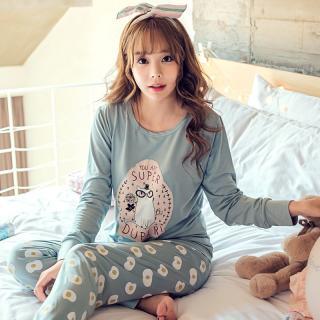 ชุดนอนน่ารักแขนยาวขายาว สไตล์สาวเกาหลี พร้อมผ้าปิดตา ลายเจ้าเหมียวแว่นแสนน่ารัก