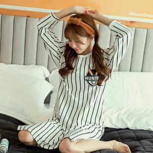 ชุดนอนเดรสตัวยาว บันนี่แฟชั่นเกาหลี ผ้ายืด เนื้อนิ่ม