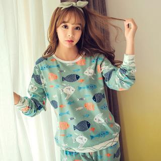 ชุดนอนน่ารัก สไตล์สาวเกาหลี พร้อมผ้าปิดตา ลายปลาแนวๆ หลับสบาย