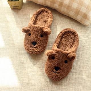 รองเท้าใส่ในบ้าน น้องหมีสีน้ำตาลขนปุย น่ารักมุ้งมิ้ง สวมใส่สบาย