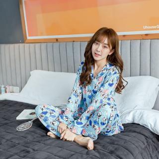 ชุดนอนผู้หญิงน่ารัก แบบกระดุมหน้า เสื้อแขนยางกางเกงขายาว (XL)