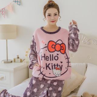 ชุดนอนน่ารัก คิตตี้ (Hello Kitty) แขนยาวขายาว ผ้านุ่มนิ่มๆ คุณภาพดี