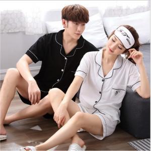 ชุดนอนคู่รัก แขนสั้นขาสั้น ชายหญิง ปังมาก สไตล์เกาหลี (ราคาต่อชุด)