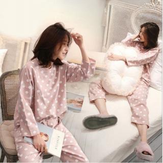 ชุดนอนคนท้อง ชุดให้นม ลายดอท สไตล์เกาหลี ชมพูหวานน่ารัก กางเกงปรับได้