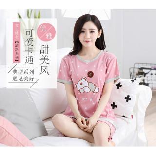 ชุดนอนแขนสั้น ลายน้องหมีขี้เซา สีชมพูหวานแบ้ว