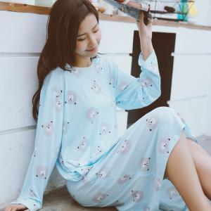 ชุดนอนไซส์ใหญ่น่ารัก ชุดเดรสยาว ลายน้องหมี สไตล์เกาหลี เหมาะใส่หน้าร้อน