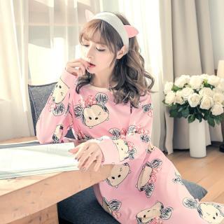 ชุดนอนไซส์ใหญ่น่ารัก ชุดเดรสยาว แขนยาว ลายมิกกี้ สไตล์เกาหลี เหมาะใส่หน้าร้อน