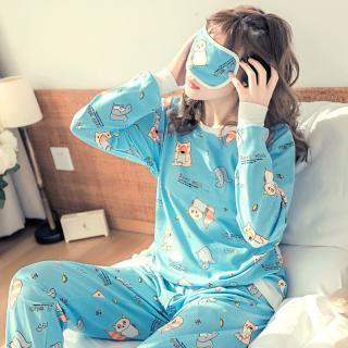 ชุดนอนผู้หญิง กางเกงขายาว ลายแร็กคูน สไตล์น่ารัก เกาหลี พร้อมส่ง