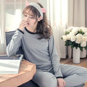ชุดนอนผู้หญิง สไตล์เกาหลี กางเกงขายาว สีเทาสวมใส่แบบเรียบๆ พร้อมส่ง