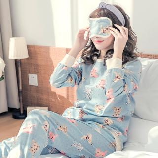 ชุดนอนผู้หญิง ลายน้องกระต่าย แขนยาวขายาว สไตล์เกาหลี สวมใส่สบาย พร้อมส่ง